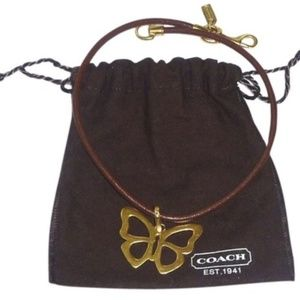 Butterfly Pendant on Leather Necklace